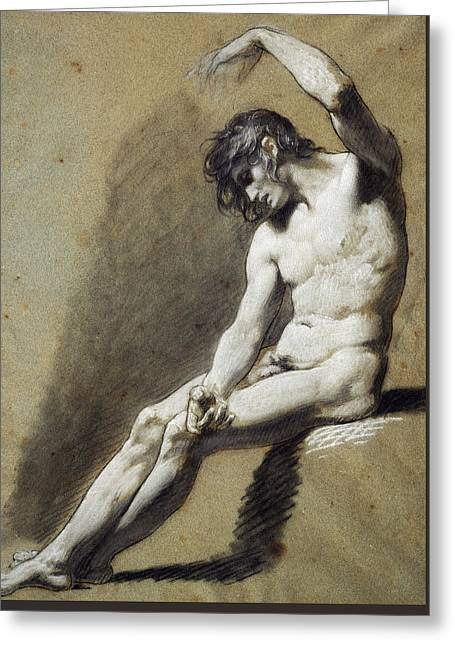 Nude Pastels Greeting Cards - Seated Nude Greeting Card by Pierre Paul Prudhon