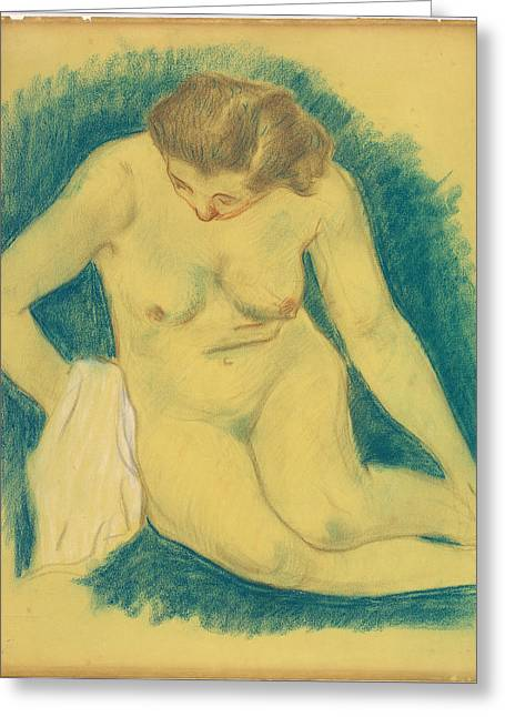 Famous ist Drawings Greeting Cards - Seated Nude Seen From Above Greeting Card by Paul Gauguin