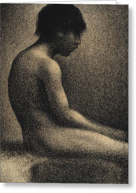 Seurat Greeting Cards - Seated Nude Study for Une Baignade Greeting Card by Georges-Pierre Seurat