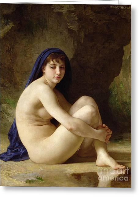 Nude Female Greeting Cards - Seated Nude Greeting Card by William Adolphe Bouguereau