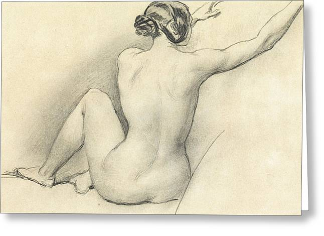 Hair Bun Greeting Cards - Seated Nude Greeting Card by William Edward Frost