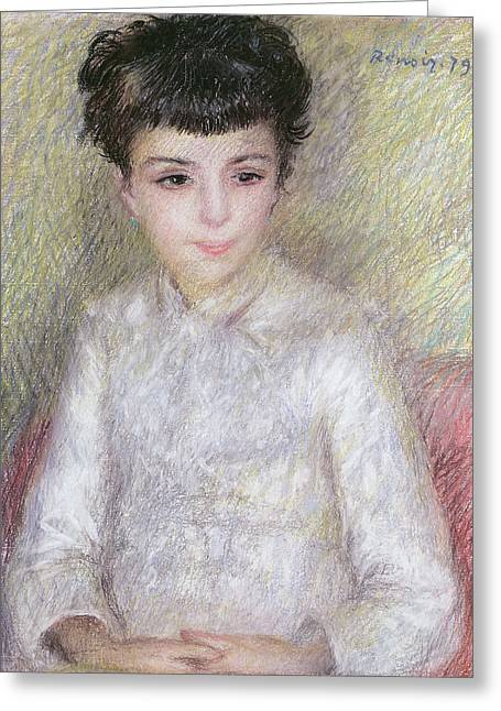 Seated Portrait Of A Young Girl With Brown Hair Greeting Card by Pierre Auguste Renoir