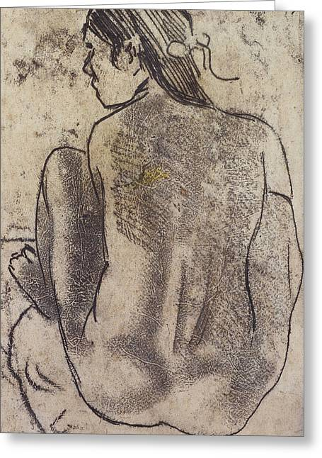Back Pastels Greeting Cards - Seated Tahitian Nude from the Back Greeting Card by Paul Gauguin