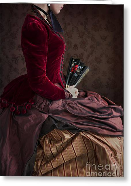 Satin Skirt Greeting Cards - Seated Victorian Woman Holding A Fan Greeting Card by Lee Avison
