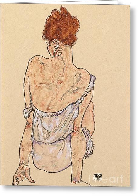 Rearview Greeting Cards - Seated woman in underwear Greeting Card by Egon Schiele
