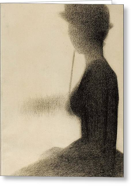 La Grande Jatte Greeting Cards - Seated Woman with a Parasol study for La Grande Jatte Greeting Card by Georges-Pierre Seurat
