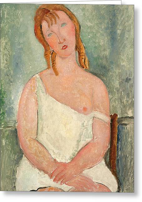 Clemente Paintings Greeting Cards - Seated Young Girl in a Shirt Greeting Card by Amedeo Modigliani