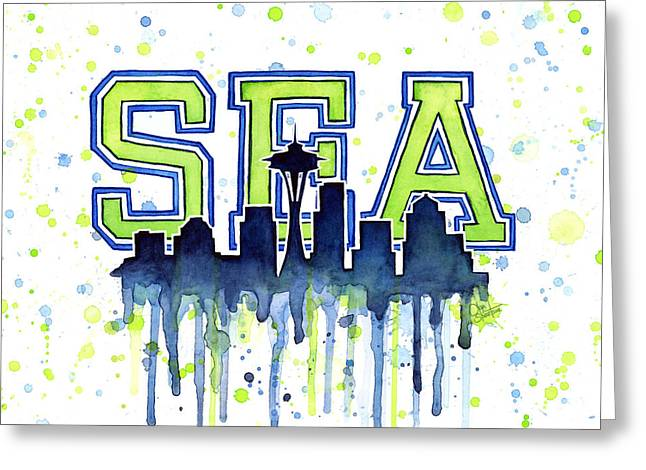 Seattle Watercolor 12th Man Art Painting Space Needle Go Seahawks Greeting Card by Olga Shvartsur