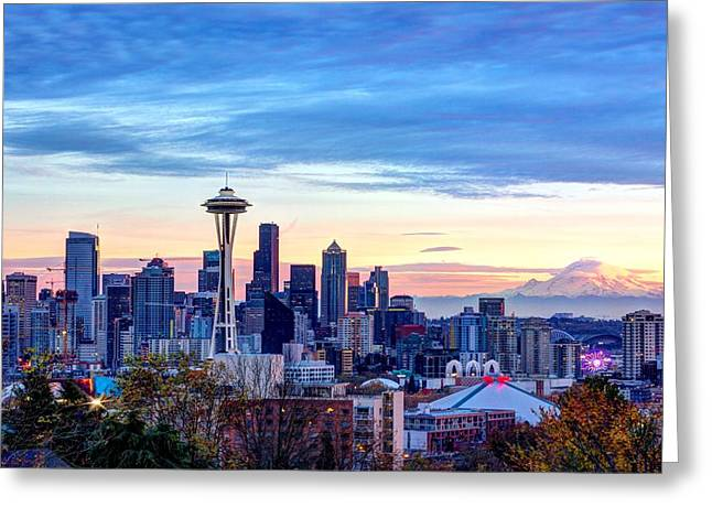 Beach At Night Greeting Cards - Seattle at Sunset Greeting Card by Chris Nelson