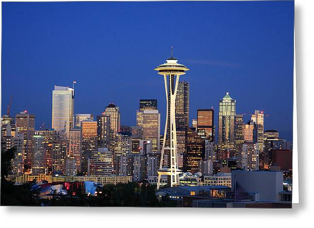 Buildings Greeting Cards - Seattle at Dusk Greeting Card by Adam Romanowicz