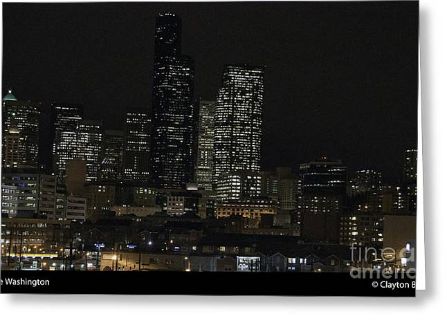Bruster Greeting Cards - Seattle At Night Greeting Card by Clayton Bruster