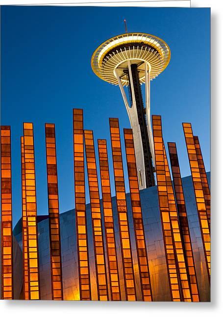 Seattle Center Twilight Greeting Card by Thorsten Scheuermann