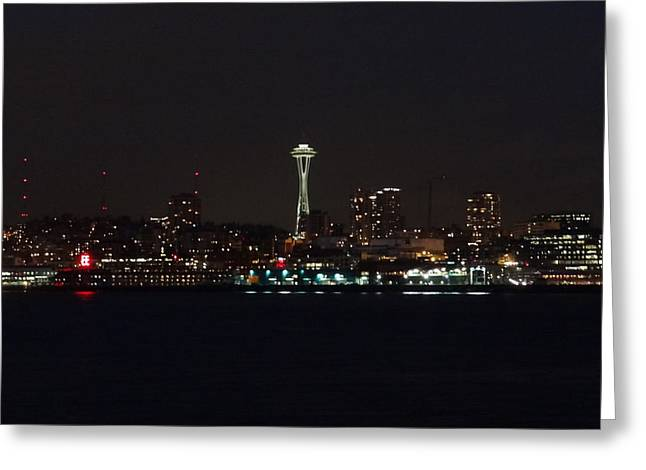 Seattle City Lights Greeting Card by Kyle Wood