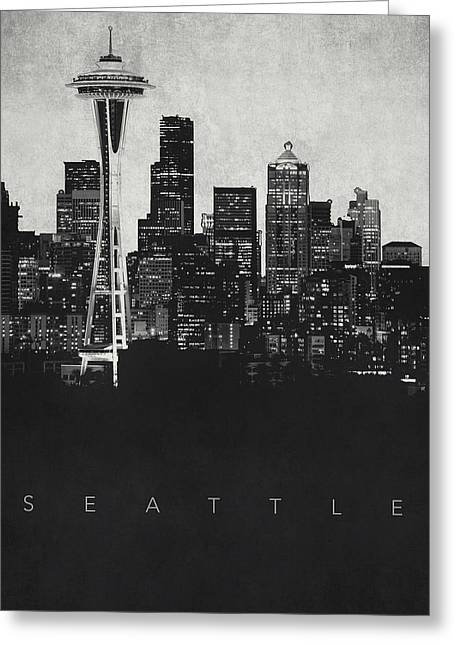 Film Noir Digital Greeting Cards - Seattle City Skyline - Space Needle Greeting Card by World Art Prints And Designs