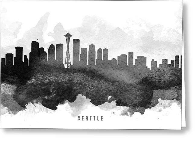 Seattle Washington Greeting Cards - Seattle Cityscape 11 Greeting Card by Aged Pixel