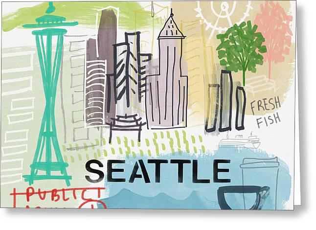 Ferris Wheel Greeting Cards - Seattle Cityscape- Art by Linda Woods Greeting Card by Linda Woods