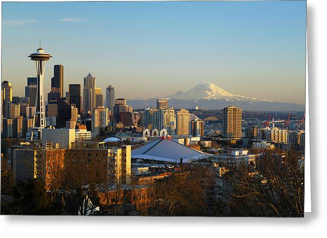 Afternoon Light Greeting Cards - Seattle Cityscape Greeting Card by Greg Vaughn - Printscapes