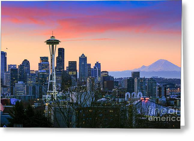 Washington Beauty Greeting Cards - Seattle Waking Up Greeting Card by Inge Johnsson