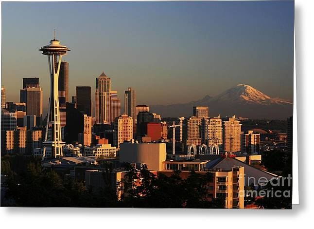 Cityscape Greeting Cards - Seattle Equinox Greeting Card by Winston Rockwell
