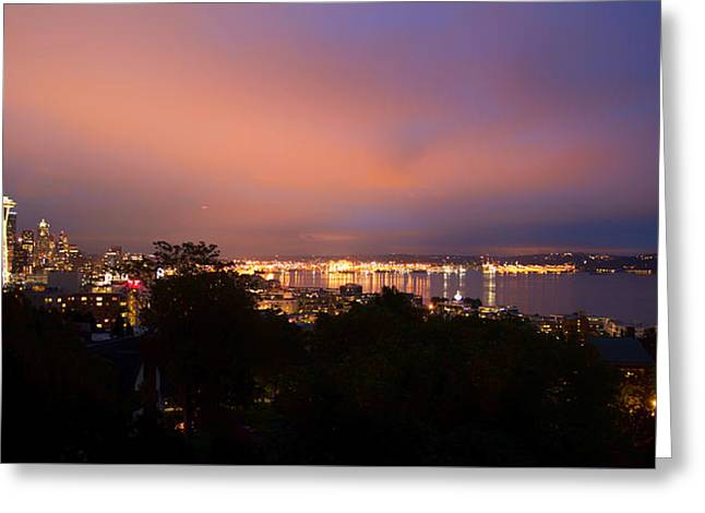 Ocean Vistas Greeting Cards - Seattle Evening Glow Greeting Card by Unsplash