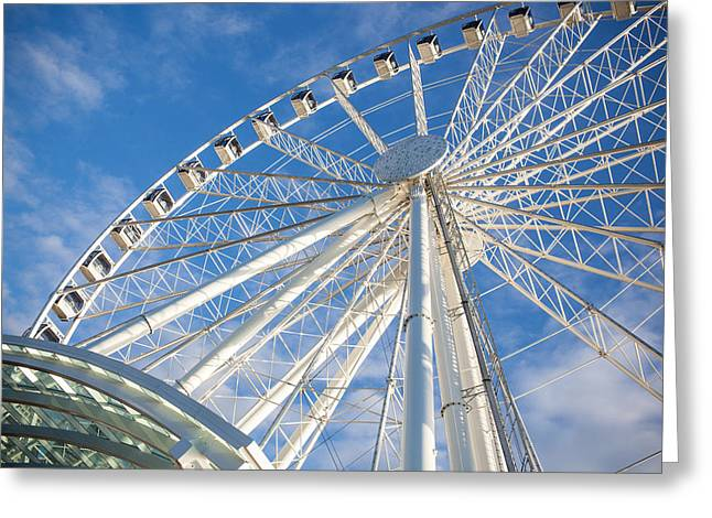Monorail Greeting Cards - Seattle Ferris Wheel Greeting Card by Paul Bartoszek