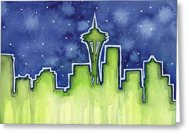 Seattle Skyline Greeting Cards - Seattle Night Sky Watercolor Greeting Card by Olga Shvartsur
