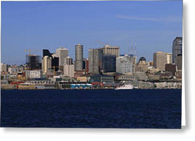 Office Space Greeting Cards - Seattle Panoramic Greeting Card by Adam Romanowicz