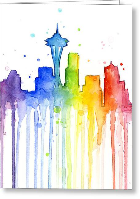 Emerald Greeting Cards - Seattle Rainbow Watercolor Greeting Card by Olga Shvartsur