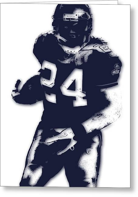 Recently Sold -  - Player Greeting Cards - Seattle Seahawks Marshawn Lynch Greeting Card by Joe Hamilton