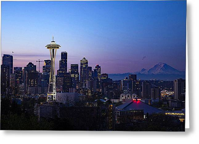 Sunset Prints Greeting Cards - Seattle Skyline At Dusk Greeting Card by Bill Hayes