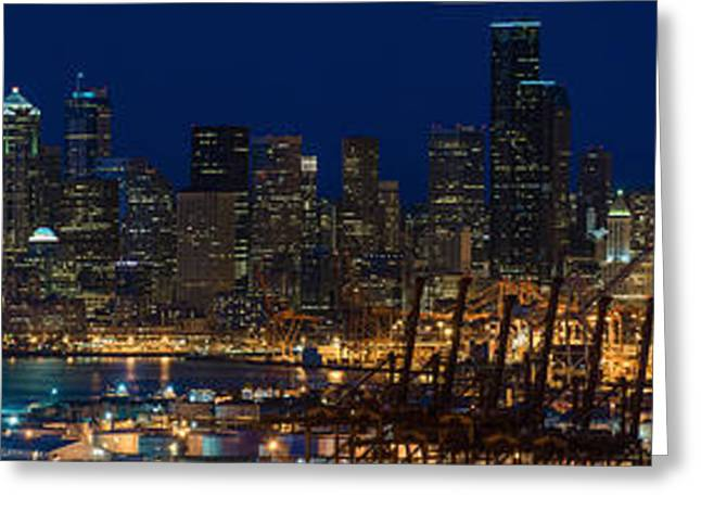 Seattle Skyline Greeting Cards - Seattle Skyline at Night from West Seattle Greeting Card by Mike Reid