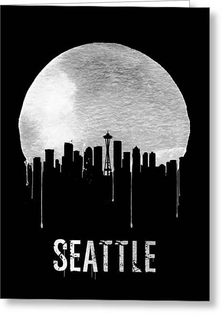 Seattle Skyline Black Greeting Card by Naxart Studio