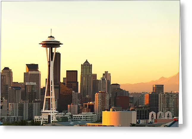 Seattle Skyline From Kerry Park Greeting Card by Alvin Kroon