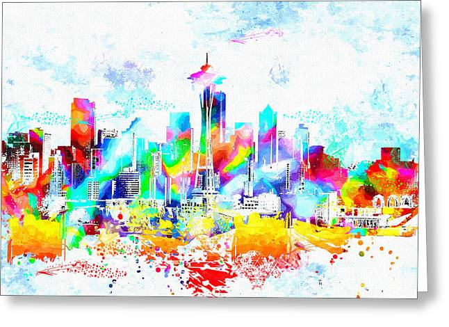 Seattle Skyline Mixed Media Greeting Cards - Seattle Skyline Grunge Greeting Card by Daniel Janda
