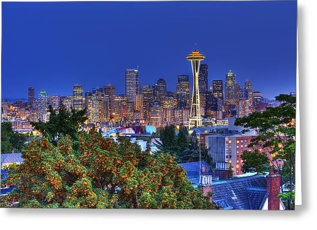 Downtown Seattle Greeting Cards - Seattle Skyline in the Fall Greeting Card by Shawn Everhart