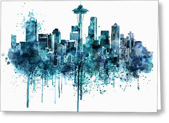 Seattle Skyline Monochrome Watercolor Greeting Card by Marian Voicu