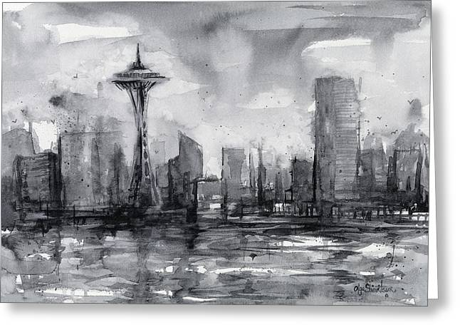 Seattle Skyline Painting Watercolor  Greeting Card by Olga Shvartsur