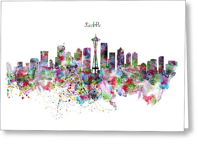 Seattle Skyline Silhouette Greeting Card by Marian Voicu