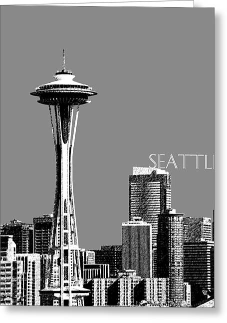Pen Greeting Cards - Seattle Skyline Space Needle - Pewter Greeting Card by DB Artist