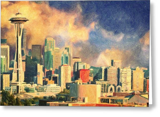Creative People Paintings Greeting Cards - Seattle Skyline Greeting Card by Taylan Soyturk