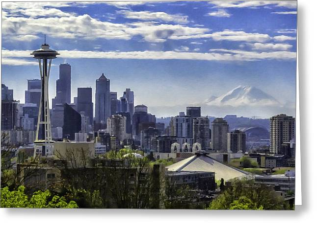 Seattle Skyline Mixed Media Greeting Cards - Seattle Skyline Greeting Card by Troy Schopp