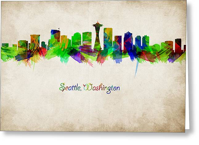 Abstract Digital Art Greeting Cards - Seattle skyline watercolor Greeting Card by Mihaela Pater