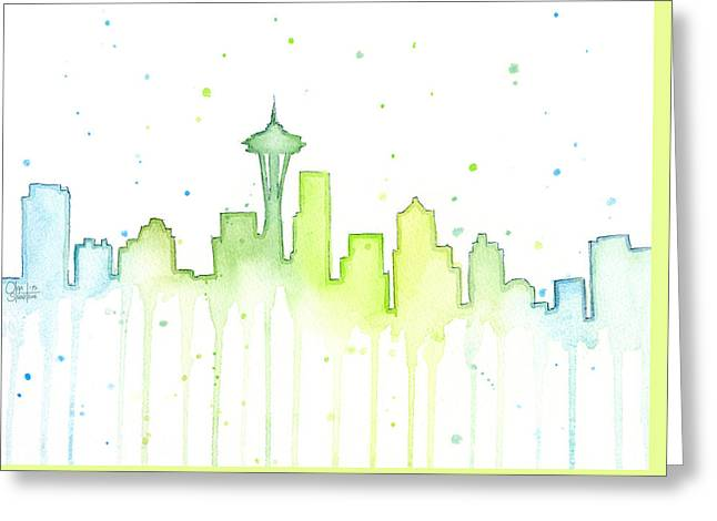 Farmers Market Greeting Cards - Seattle Skyline Watercolor  Greeting Card by Olga Shvartsur