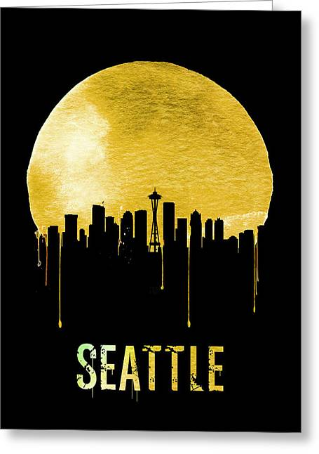 Seattle Skyline Yellow Greeting Card by Naxart Studio
