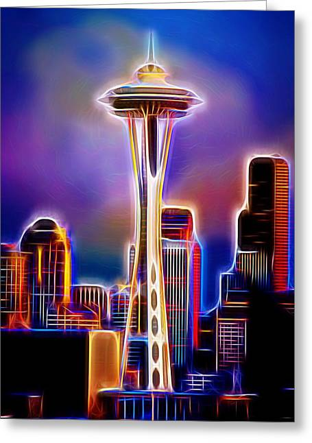 Seattle Skyline Mixed Media Greeting Cards - Seattle Space Needle 1 Greeting Card by Aaron Berg