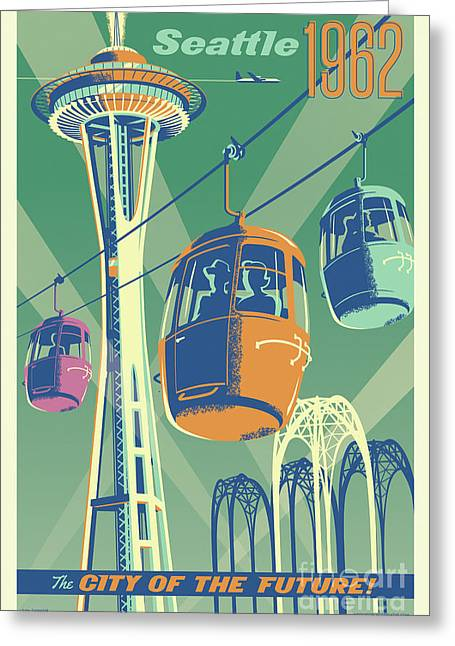 Seattle Space Needle 1962 - Alternate Greeting Card by Jim Zahniser