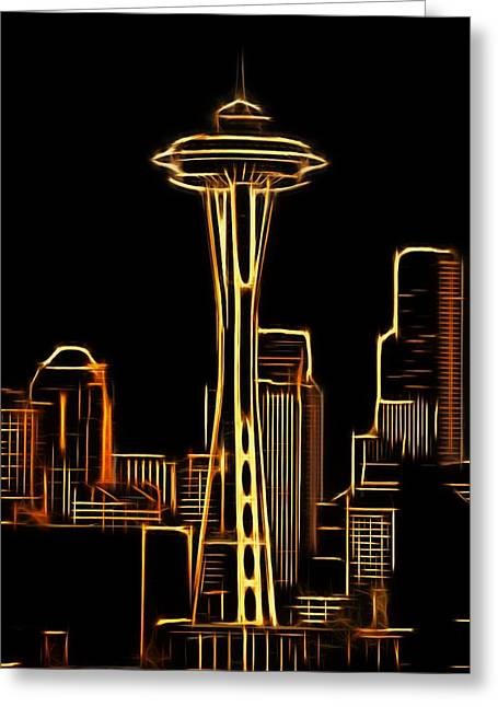 Seattle Skyline Mixed Media Greeting Cards - Seattle Space Needle 3 Greeting Card by Aaron Berg
