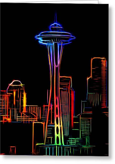 Seattle Skyline Mixed Media Greeting Cards - Seattle Space Needle 4 Greeting Card by Aaron Berg