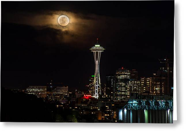 Eclipse Greeting Cards - Seattle Space Needle Full Moon Rising Greeting Card by Mike Reid