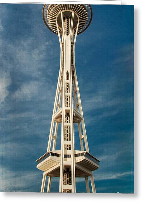 Space Needle Photographs Greeting Cards - Seattle Space Needle Greeting Card by Lucid Mood